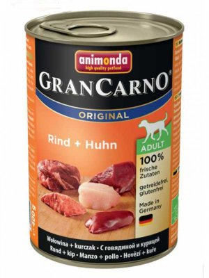 ANIMONDA Grancarno Original Adult Консервы для собак всех пород с говядиной и курицей, 400г