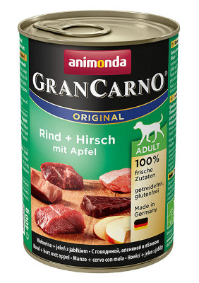 ANIMONDA Grancarno Original Adult Консервы для собак всех пород с говядиной, олениной и яблоком, 400г