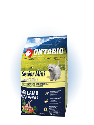 "Ontario ""Senior Mini Lamb & Rice"" Корм для пожилых собак мелких пород Ягненок и Рис"